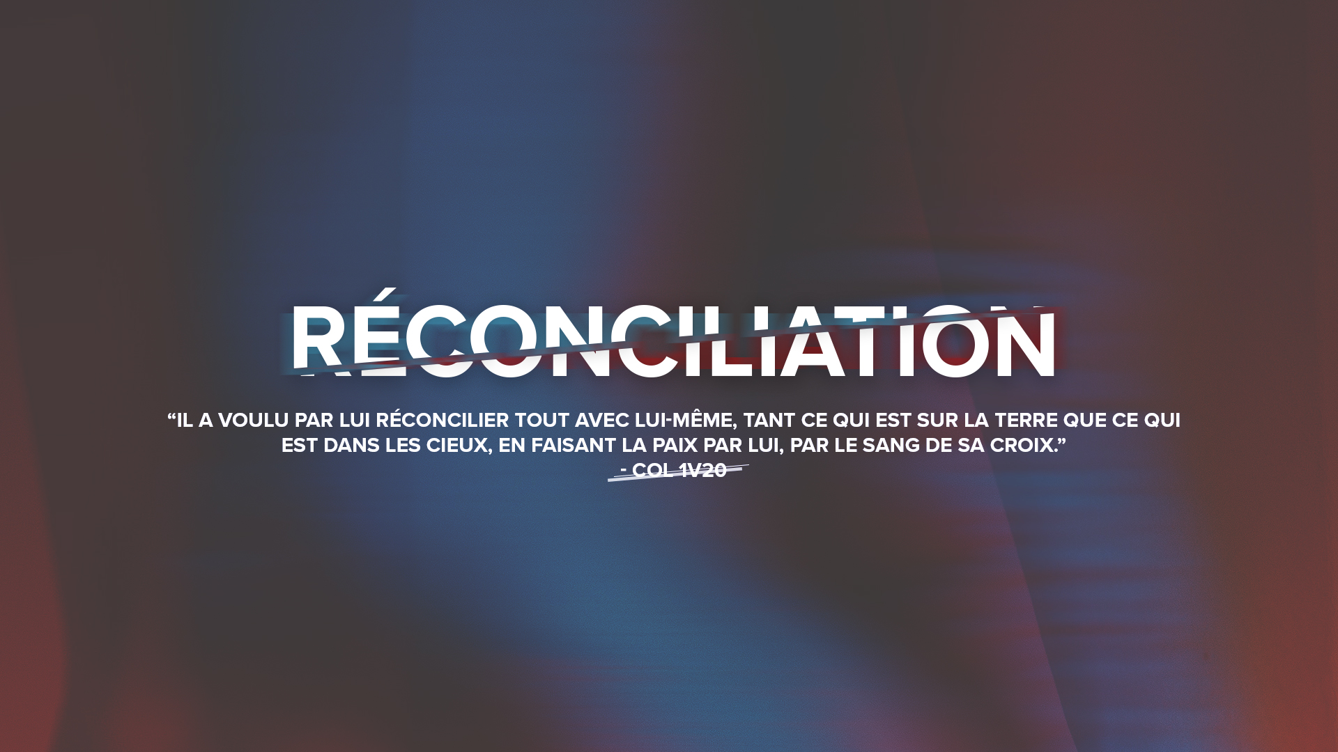 Nouvelle Série: RECONCILIATION